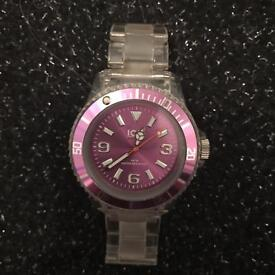 Clear and purple ice watch