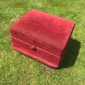 Red foot stool pouffe storage