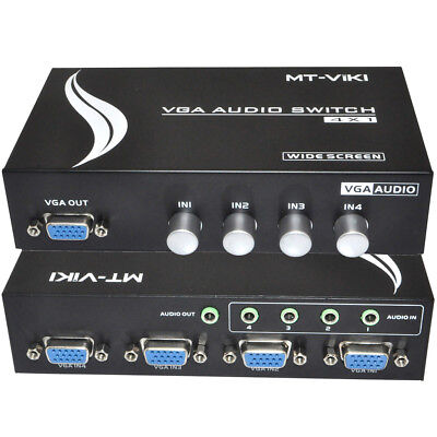 4 Port VGA Video Audio KVM switch Switcher Box Selector 4 in 1 PC Monitor Share