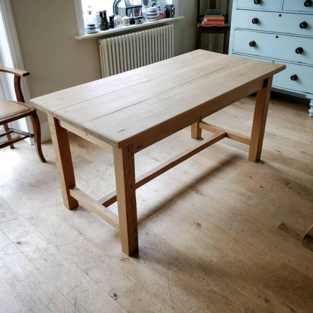 Victorian pine farmhouse table scrub top table kitchen table 6 seater
