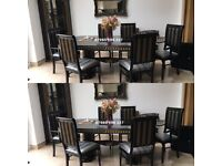 Rossella Italian Dining Table and 6 Chairs in High Gloss with Gold Design