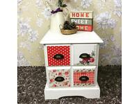 Solid pine bedside cabinet / small chest of drawers painted white decoupage dress with floral papers