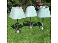 Matching Chrome and Turqoise (Bedside or Table) Lamps