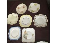 22 Assorted vintage bone China cake plates and side plates