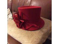 Red ladies hat. Wedding hat, mother of the Bride hat