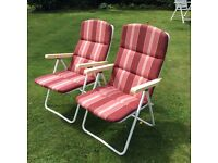 2 x folding recliner garden chairs with cushion seating Coulsdon near Croydon Collection