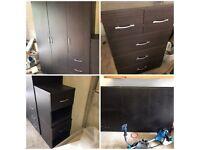 Brown furniture suite - lockers, wardrobe, chest of drawers, headboard
