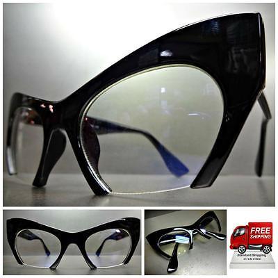 Klassisch Vintage Retro Cat Eye Stil Klar Gläser Brillen Schwarz Mode Frame