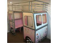 De-Van pink mid sleeper/bunk bed with seat and desk