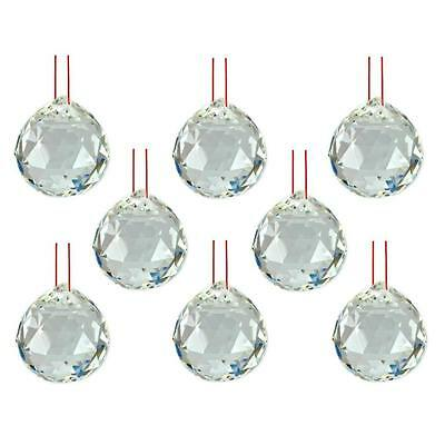 "LOT of 8 FENG SHUI HANGING CRYSTAL BALL 1.25"" 30mm Sphere Prism Healing Faceted"
