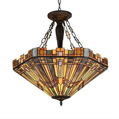 Stained Glass Chloe Lighting Mission 3 Light Inverted Pendant Fixture 24