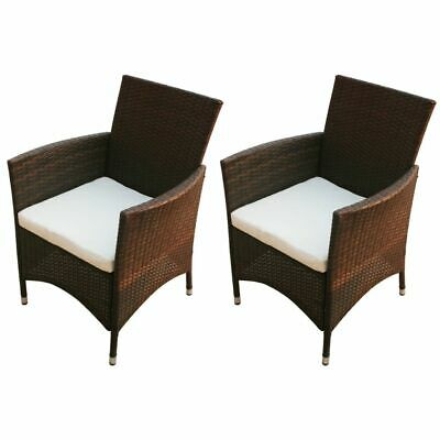 Garden Furniture - vidaXL 2x Garden Chairs Poly Rattan Wicker Brown Patio Outdoor Furniture Seat