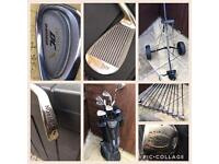 Golf clubs, bag and trolly