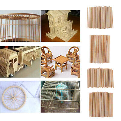 350x Unfinished Wood Round Bamboo Wooden Stick Dowel for DIY Model Making ()