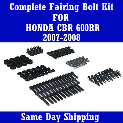 - Complete Black Fairing Bolt Kit Body Screw for HONDA 2007 2008 CBR 600RR F5