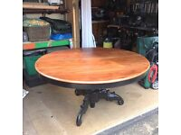 "Dining Table, circular, 57"" Dia, Matt Black pedestal and Dark Hardwood Top"
