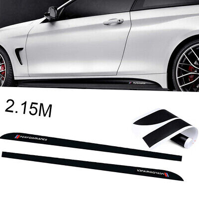 \ Performance 2.15M Glossy Black Side Skirt Sill Decal Stripe Stickers For BMW