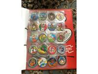 Collection of pogs and tazos, retro 90's game