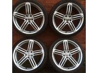 4x Audi rs6 20 inch 5 spoke Alloy Wheels Pirelli P-Zero Tyres 255 35 alloys A4 A6 A8 Q3 Q5 vw Tiguan