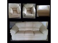 3 piece cream leather sofa and chairs with pouffe.