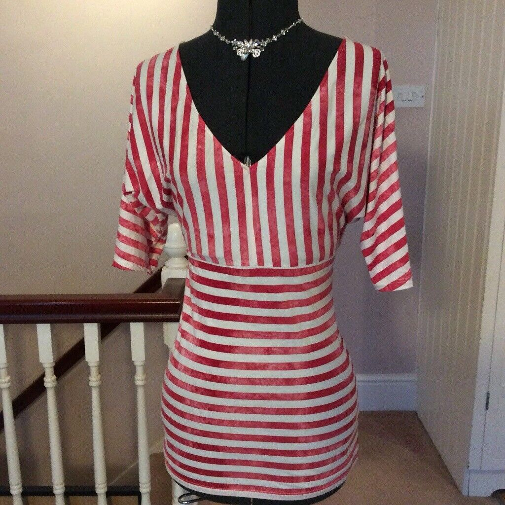 Topshop Tie Dye Red White Stripe Batwing Sleeve V Neck Casual Top 10