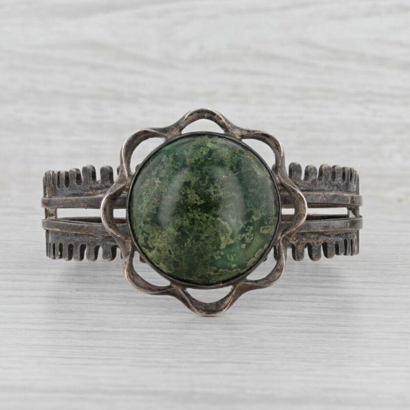 "Miguel Melendez Green Ornamental Stone Bangle Bracelet Sterling Silver Taxco 7"""