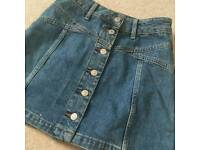 Top Shop button denim skirt
