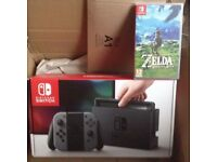 Nintendo Switch Console (Grey) with Zelda Breath of the Wild - BRAND NEW - STILL SEALED