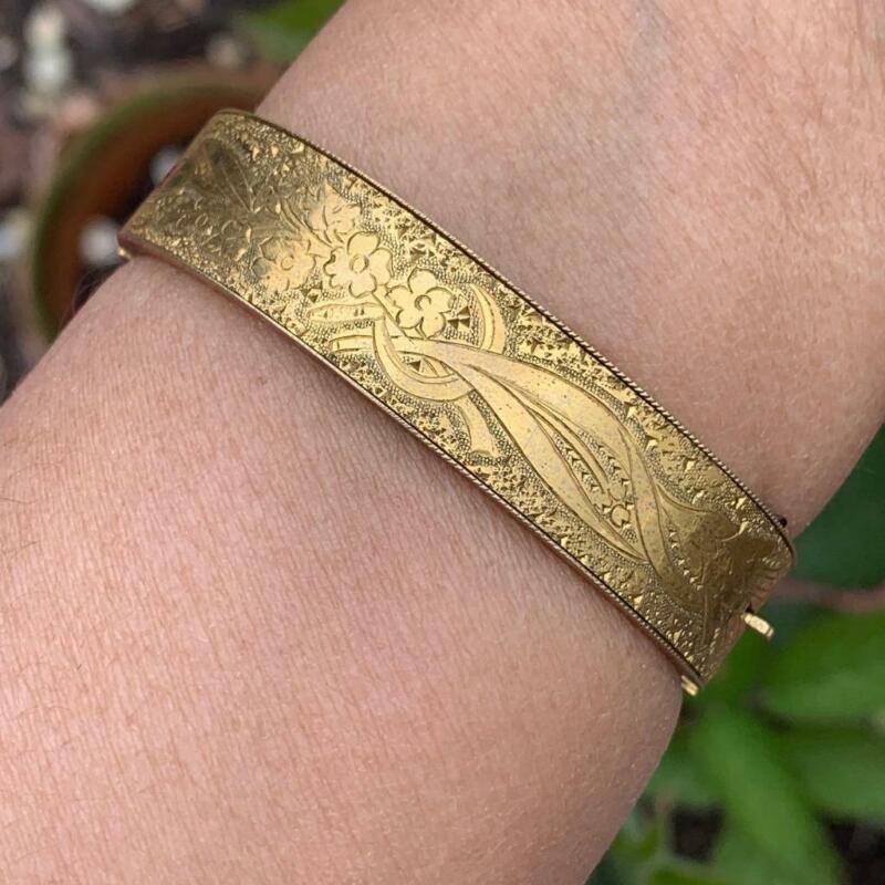 Antique Victorian Gold Filled Engraved Hinged Bangle Bracelet
