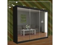 Brand New Triple Door Mirrors Sliding Wardrobe with 3 LED Light in Black/Grey/Oak/Walnut/White Color