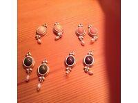 New silver earrings necklace drops X 8