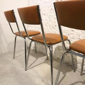 X4 Retro 1960/70s Brown Steel Chairs by Keron