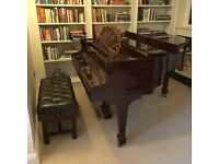 Beautiful and Bespoke Reid Sohn Baby Grand Piano in Deep Dark Red with Quiet Time Silent Play.
