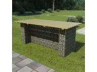 Garden Table with Steel Gabion FSC Pinewood 180x90x74 cm for sale  Victoria, London