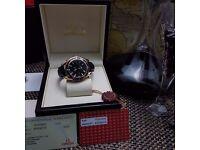 New black face black bezel leather bracelet Omega Seamaster Rose gold automatic swiss movement comp