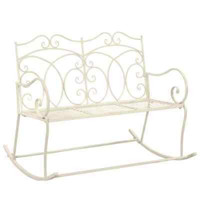 vidaXL Garden Bench 104cm Iron Antique White Outdoor Patio Yard Seat Chair