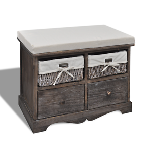 New Items-Brown Wooden Storage Bench 2 Weaving Baskets(SKU240791) Mount Kuring-gai Hornsby Area Preview