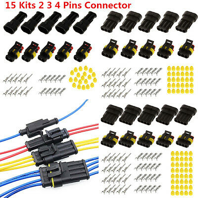 15 Kits 2 3 4 Pins Sealed  IP68 Electrical Wire Connector Plug for Universal Car