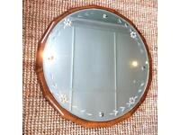 Lovely unusual vintage etched glass and wood mirror