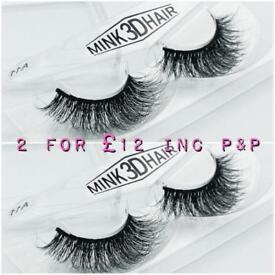 2 Pairs of 3D Mink False Black Eyelashes