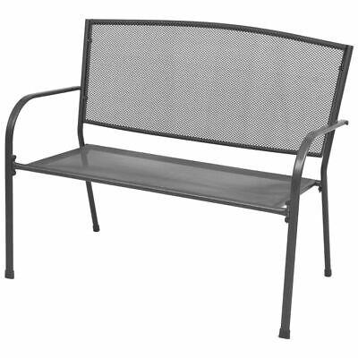 vidaXL Garden Bench with Armrests Steel Mesh 108x60x88 cm Patio Park Seat