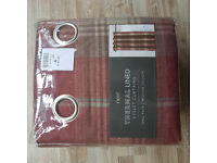NEW - Next Thermal Lined Check Curtains 168 wide x 183 long