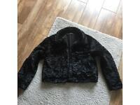 Size 16 BLACK SHORT CRUSHED FAUX FUR COAT