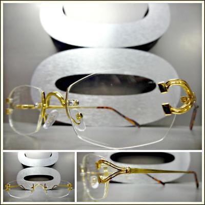 Herren- Classy Elegante Anspruchsvolle Stil Klar Gläser Brille Gold Rahmenlos