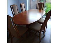 Danish dining table and six chairs
