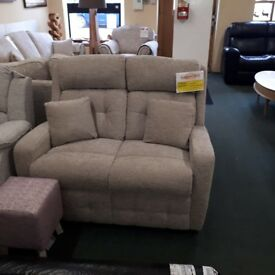 BRAND NEW (EX-DISPLAY) PETITE 2 SEAT SOFA IN GREY FABRIC WITH CUSHIONS