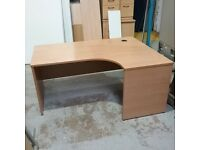 Beech effect right hand curved desk
