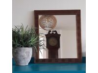 Solid walnut framed mirrors with striking pattern