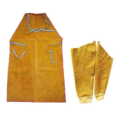 One Pair Cowhide Leather Welding Sleeves Welder Apron Flame Resistant