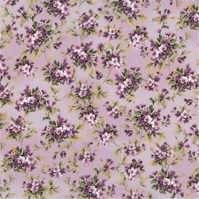 Merideth Purple Lavender Violet Plum Floral Shabby Rose Quilt Fabric 18764-6